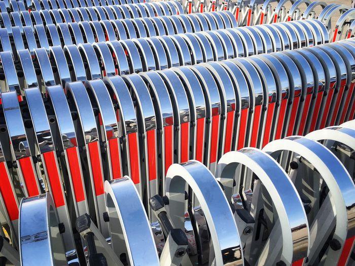 Full frame shot of metallic barriers