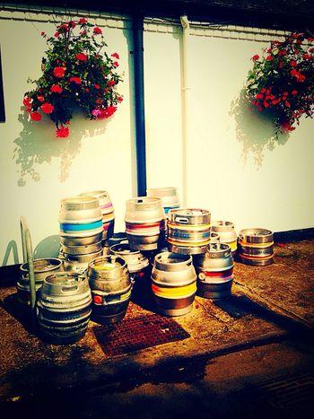 Urban pub Flower Pot pub Pub Beer Beer Barrels Beer Kegs White Wall Freshness Growing