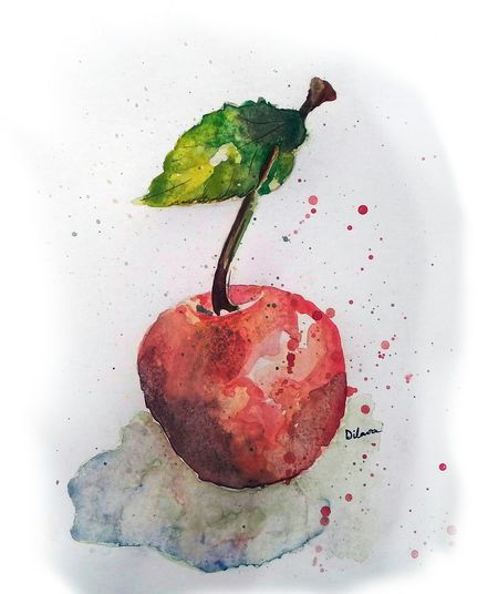 Watercolor on paper // Cherry Watercolor Canzone Art