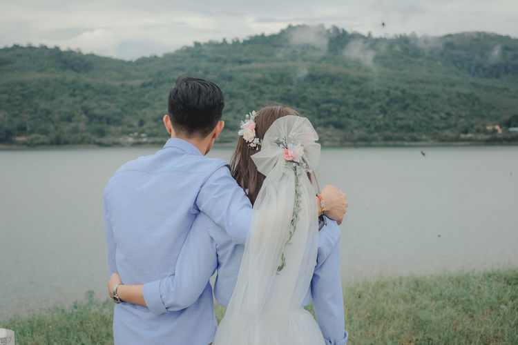 wedding Two People Water Nature Men Plant Real People Day Leisure Activity Adult Togetherness Beauty In Nature Lifestyles Outdoors Couple - Relationship Women Lake Land People Love Wedding Wedding Photography