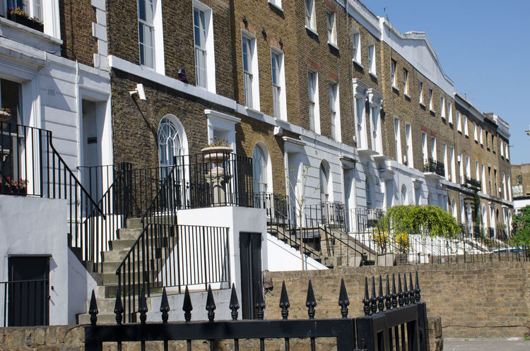 Row of typical London townhouses in Chelsea Architecture Building Exterior Built Structure Chelsea Housing London Outdoors Railing Residential Building Staircase Steps Streetphotography Terrace