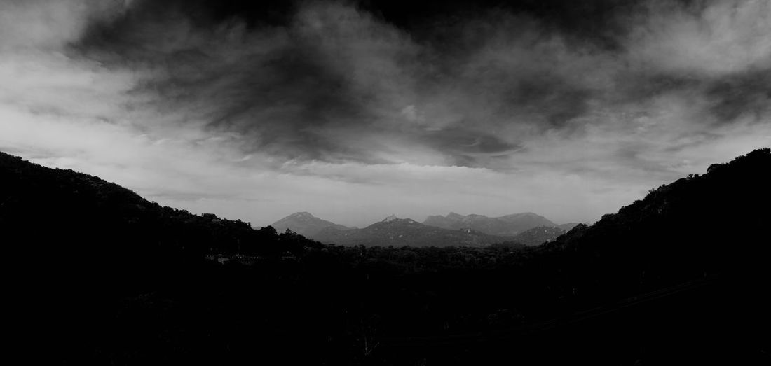 Black And White Friday Beauty In Nature Mountain Nature Tranquil Scene Scenics Silhouette Tranquility Landscape Sky No People Mountain Range Outdoors Tree Day Black Mountain Valley Valley View Dark Mountains