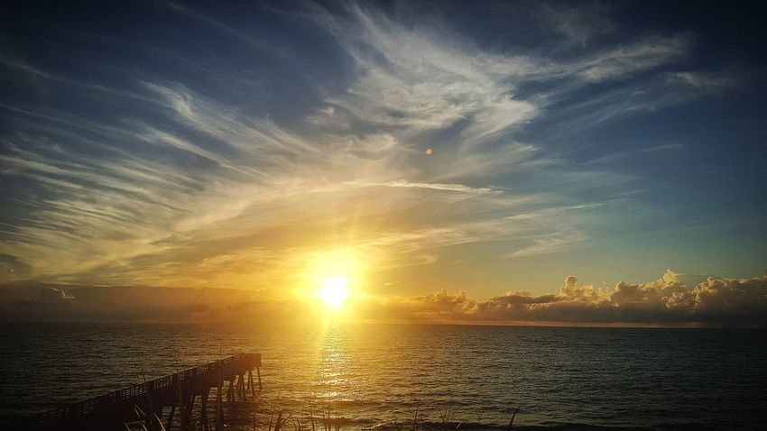 Golden Sunrise White Clouds Wake Up And Smell The Coffee Ocean_Collection ~~ Golden Sunset Cloud - Sky Beach Bum 🌊 Bikini Time❤ Dramatic Sky Ocean❤ Seaside Life Storm Cloud Sexy♡ Warming The Soul Beauty In Nature Wrapped Up In Colors Here Comes The Rain Morning Coffee Horizon Over Water Seashore Tranquility Sea Sunlight ☀ Take A Walk Off A Short Pier Pier Photos Blueskies
