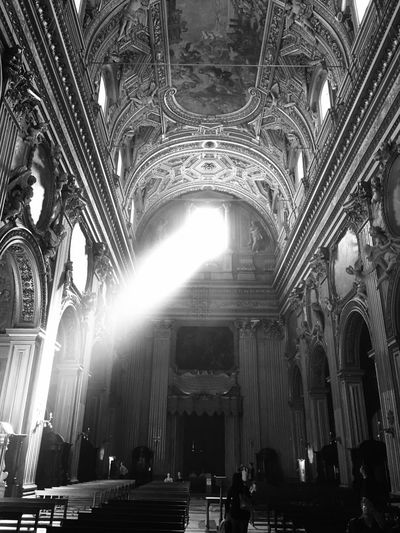 Monochrome Photography Religion Place Of Worship Architecture Low Angle View Spirituality Indoors  Built Structure Travel Destinations Pew Day Italy Capital Cities  Rome Blackandwhite Beautiful Light And Shadow Light Beam Amazing Ancient Architecture Chapel Church Holy