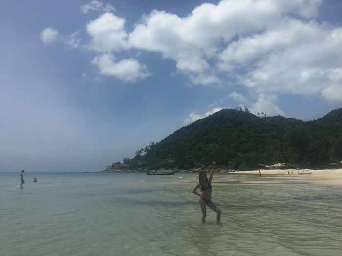 ASIA Bikini Time❤ South East Asia Thai Thailand Beach Beachphotography Beauty In Nature Bikini Bottle Beach Cloud - Sky Day Mountain Nature One Person Outdoors People Real People Scenics Sea Sky Southern Thailand Thailand Beach Tranquility Water