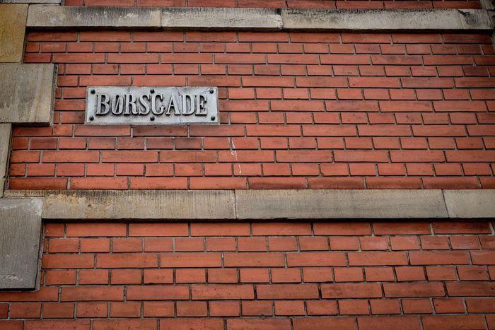 Børscade Copenhagen, Denmark Kopenhavn Danmark Brick Wall Road Sign Red Architecture