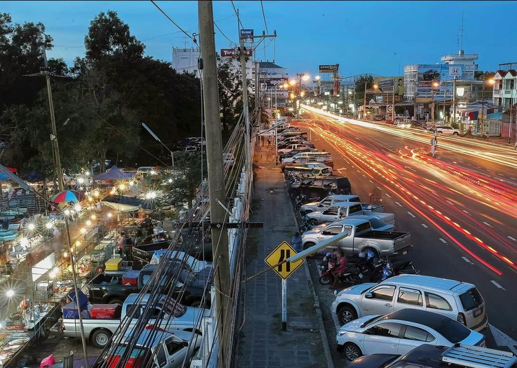 thailandscape City Cityscape Road Motion Illuminated Speed Car Light Trail Street Long Exposure