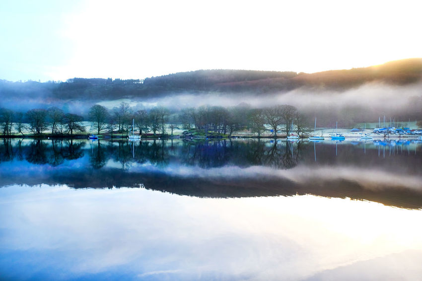Windermere Lake Beauty In Nature Cold Temperature Day Fog Hazy  Idyllic Lake Landscape Misty Morning Mountain Nature No People Outdoors Reflection Scenics Sky Standing Water Tranquil Scene Tranquility Tree Water Waterfront Windermere Windermerelake