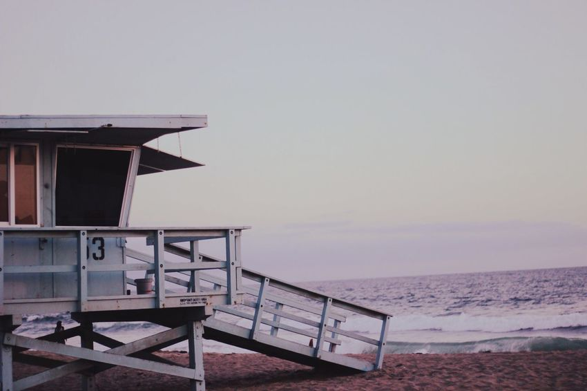 Socal dreams Beach Sea Water Tranquil Scene Tranquility Sand Horizon Over Water Lifeguard Hut Sky Sunset Lifeguard  No People Relaxation EyeEm Selects