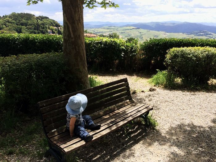 The Great Outdoors - 2016 EyeEm Awards Baby Landscape Toscana Summer View Hat Parkbench Longing Lonley Alone Waiting Italy