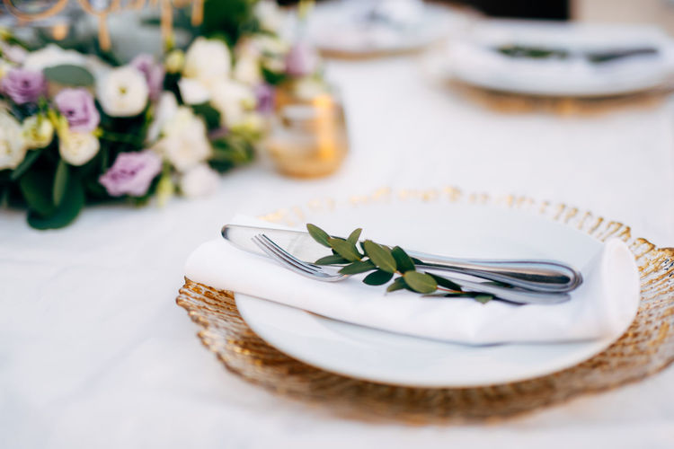 Close-up of served in plate on table