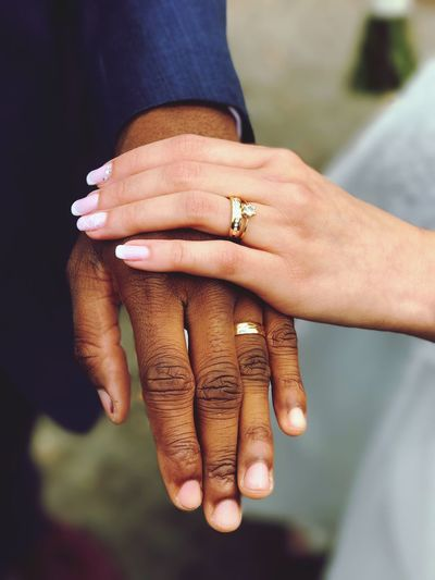 Cropped image of couple with wedding rings