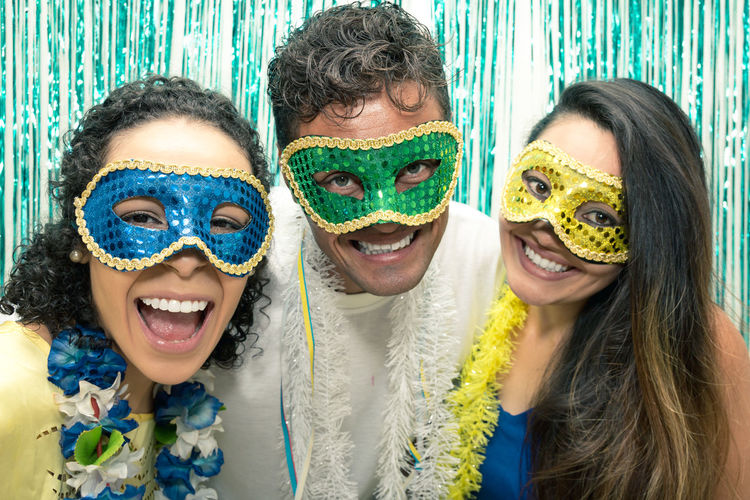 Brazil Carnival Adult Bonding Carnaval Celebration Cheerful Day Eye Mask Friendship Front View Fun Headshot Laughing Leisure Activity Looking At Camera Party People Smiling Togetherness Two People Young Adult Young Women