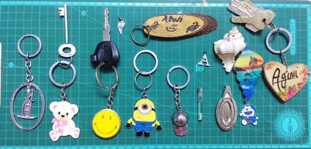 Large Group Of Objects Still Life Collection Minon Smiley Face Keychain Collection No People Multi Colored Day