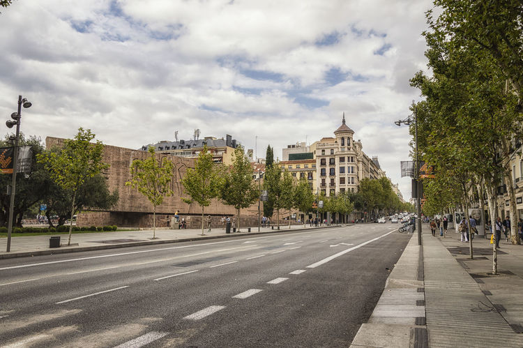 Street of Serrano in Madrid Architecture Building Exterior Built Structure City City City Life City Life Cloud Cloud - Sky Day Footpath Group Of People Incidental People Long Luxury Madrid Outdoors Retail  Road Serrano Shopping Sky Street The Way Forward Tree