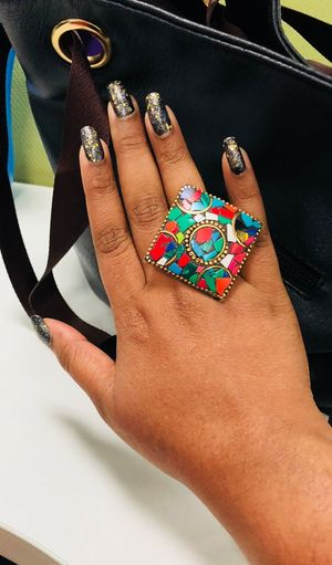 Finger Ring Jewelry Jewellery Nail Art One Person Human Body Part Real People Fashion Adult Hand Human Hand Lifestyles Close-up Multi Colored Women Body Part Indoors  Leisure Activity Creativity Art And Craft Human Finger Finger Arts Culture And Entertainment
