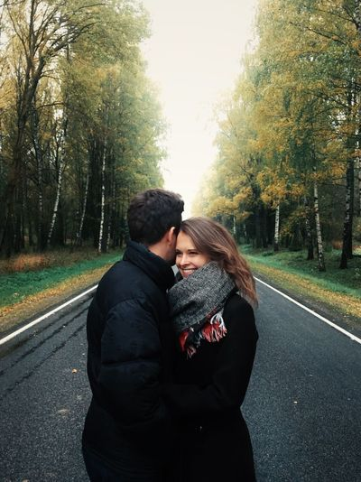 Love Two People Heterosexual Couple Togetherness Romance Embracing Tree Couple - Relationship Kissing Affectionate Young Women Autumn Young Adult Young Men Road Men Young Couple Outdoors Warm Clothing Day EyeEm