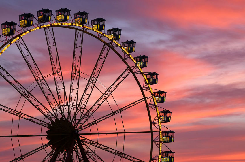Architecture Aschaffenburg Ferris Wheel Low Angle View Nature The Week On EyeEm Volksfest Aschaffenburg Amusement Park Amusement Park Ride Arts Culture And Entertainment Big Wheel Built Structure Day No People Outdoors Sky Sunset Paint The Town Yellow