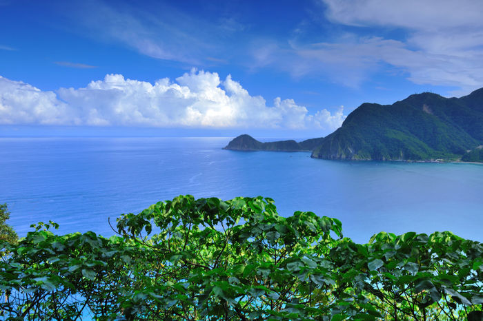 Beauty In Nature Blue Cloud - Sky Day Green Color Horizon Over Water Idyllic Mountain Nature No People Outdoors Plant Scenics Sea Sky Tranquil Scene Tranquility Tree Water 優美姿態 台灣 寧靜 海岸線 蘇花公路 風景・景色