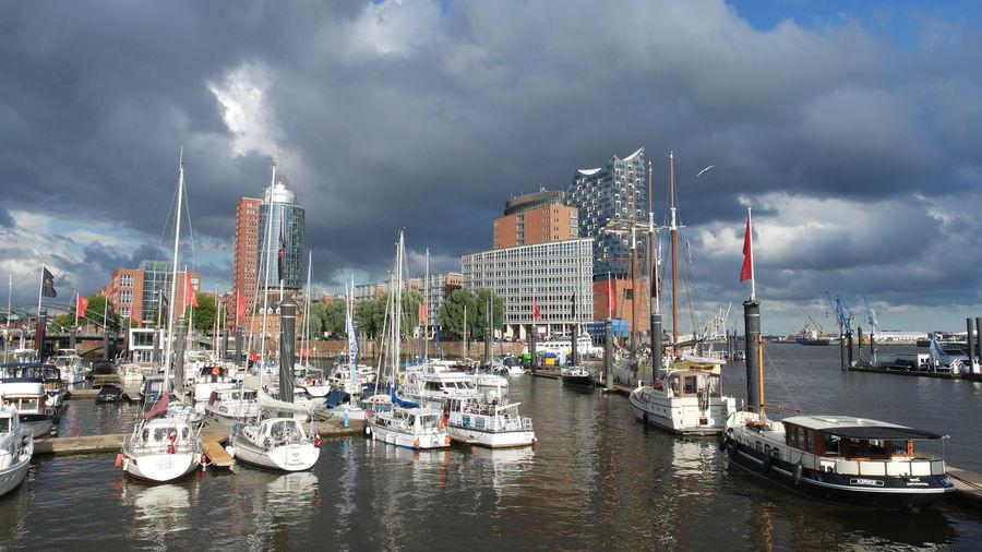 Hamburg Harbour Welovehh hamburger hafen Cloudy Skyline Hamburg Harbour View Waterscape Sailing Ships