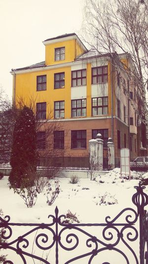 Building Exterior Window Built Structure City Winter Happy Hour Yellow Snow No People