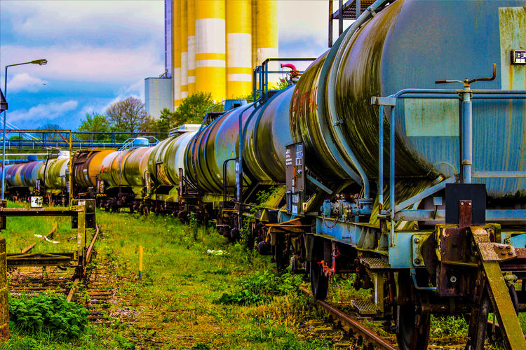 An image of gas, oil, fuel wagon - train Business Finance And Industry Cargo Chemical Diesel Gasoline Industry Infrastructure Logistic Oi Petrol Shipping  Taking Photos Tank Traffic Transportation Transpot