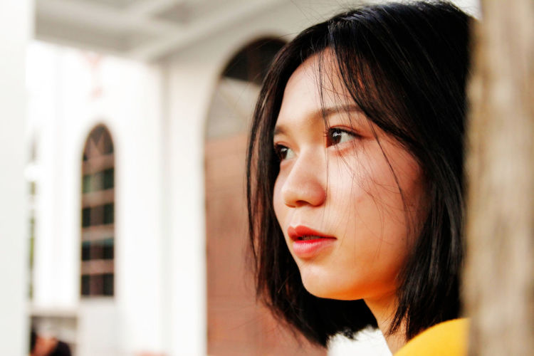 Asian girl Beautiful Woman Beauty Black Hair Focus On Foreground Lifestyles Looking Away One Person Women Young Adult Young Women