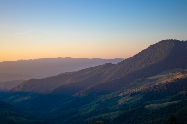 Scenics - Nature Beauty In Nature Tranquil Scene Tranquility Mountain Sky Environment Landscape Idyllic No People Non-urban Scene Mountain Range Nature Sunset Clear Sky Remote Copy Space Outdoors Majestic Physical Geography Mountain Peak