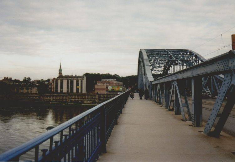 Analog Analogue Photography Architecture Bridge Bridge - Man Made Structure Bridge View Built Structure City View  Film Photography Filmisnotdead Lomography Loneliness Outdoors Pedestrian Walkway Perspective Perspective Photography Perspectives Poland River River View Riverbank Sky Urban Geometry Urban Landscape Vanishing Point