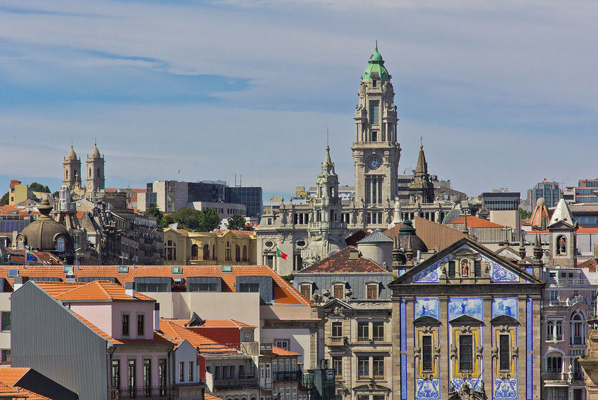 Perspectives from Porto. Building Exterior Built Structure Architecture Building City Residential District Sky Tower Cloud - Sky Travel Destinations Cityscape Nature Religion Day No People Spirituality Belief Tall - High Outdoors Skyscraper Spire  TOWNSCAPE Architecture Nature City