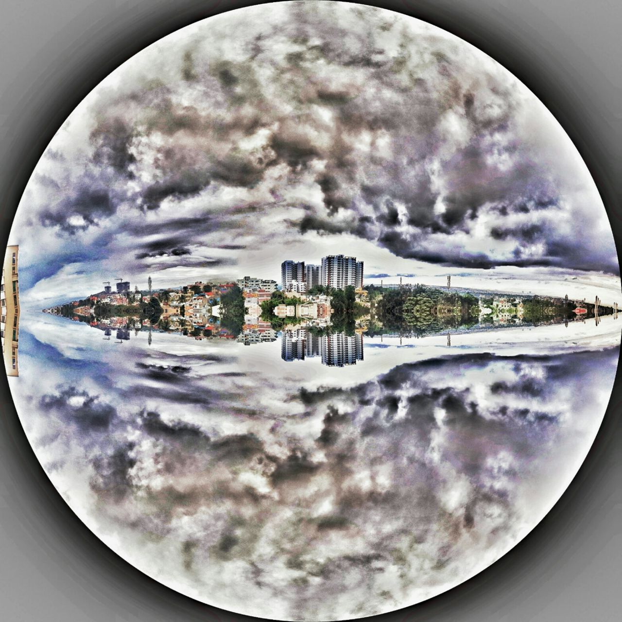 sky, reflection, water, cloud - sky, no people, architecture, built structure, fish-eye lens, indoors, building exterior, day, close-up, city, nature, cityscape