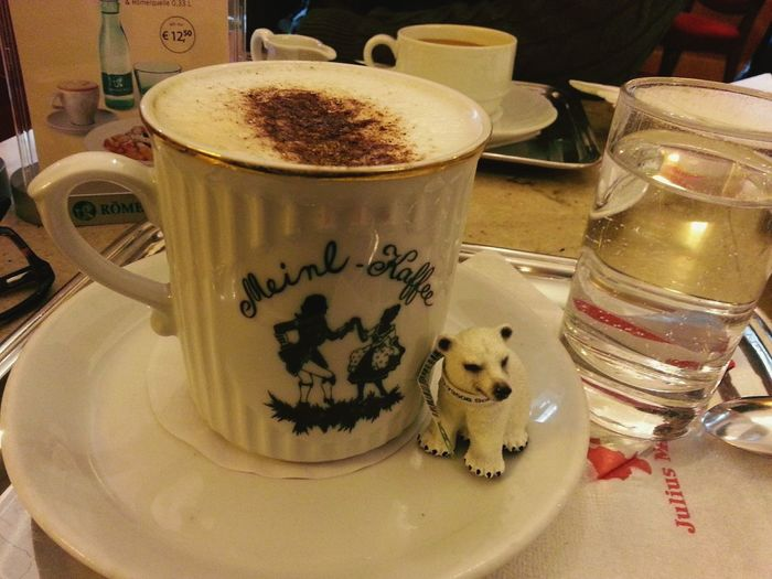 Coffee ☕ Coffee Time Wiener Melange  travelling with my new friend, little polar bear :) ?✌