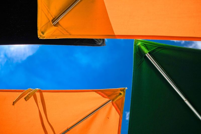 Colourful market umbrellas