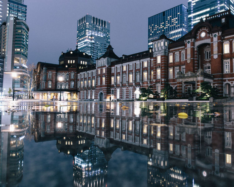 last night at Tokyo station Japan Night Lights Nightphotography Tokyo Station Tokyo,Japan Architecture Building Exterior Built Structure City Illuminated Night Night View Outdoors Reflection Reflections In The Water Mobility In Mega Cities