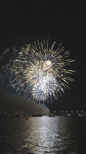 Russia Fireworks Celebrating River Beautiful Holiday My City Voronezh Day Water Night