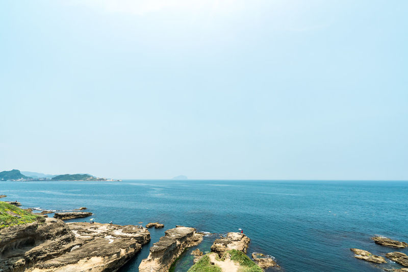 Sea Water Sky Scenics - Nature Horizon Over Water Horizon Beauty In Nature Tranquility Tranquil Scene Blue Copy Space Nature Day Land No People Idyllic Rock Clear Sky Rock - Object Outdoors Rocky Coastline
