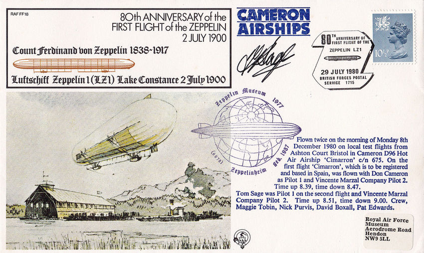 Signed Paper Zeppelin Airship Close-up No People Zeppelinmuseum Commemorative Stamps First Day Covers 1900 To 1980 80th Anniversary Cameron Airships