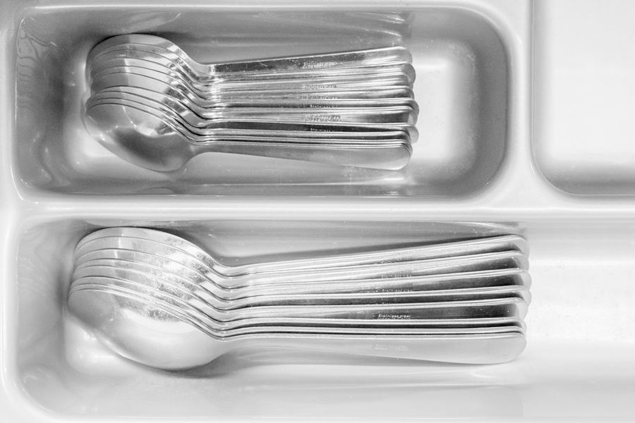 Stacked spoons (edited vers.) - Black & White Black And White Blackandwhite Close-up Domestic Kitchen Eating Utensil Exceptional Photographs Full Frame Hello World High Key In A Row Indoors  Kitchen Kitchen Utensils Large Group Of Objects Light And Shadow Lights And Shadows No People Shiny Simple Things In Life Spoon Stack Stacked White Background White Color
