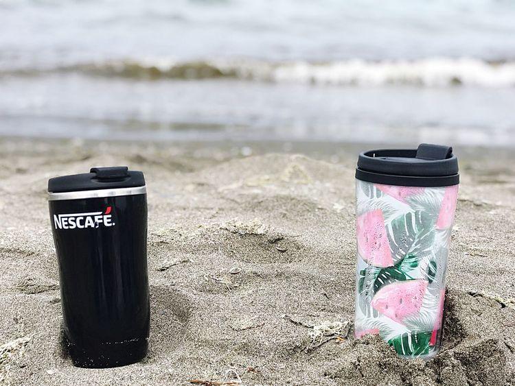 Bir Yudum kahve... Text Western Script Container Beach Day Nature Communication Water Sunlight Sea