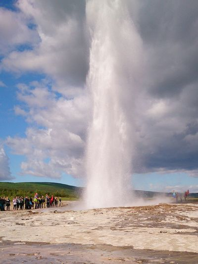 Geysir Iceland Goldencircle Water Spraying Heat - Temperature Splashing Large Group Of People Power In Nature Outdoors Day Erupting Sky Nature People Hot Spring Island Islandurlaub Islandtour Iceland Trip Iceland Nature EyeEmNewHere