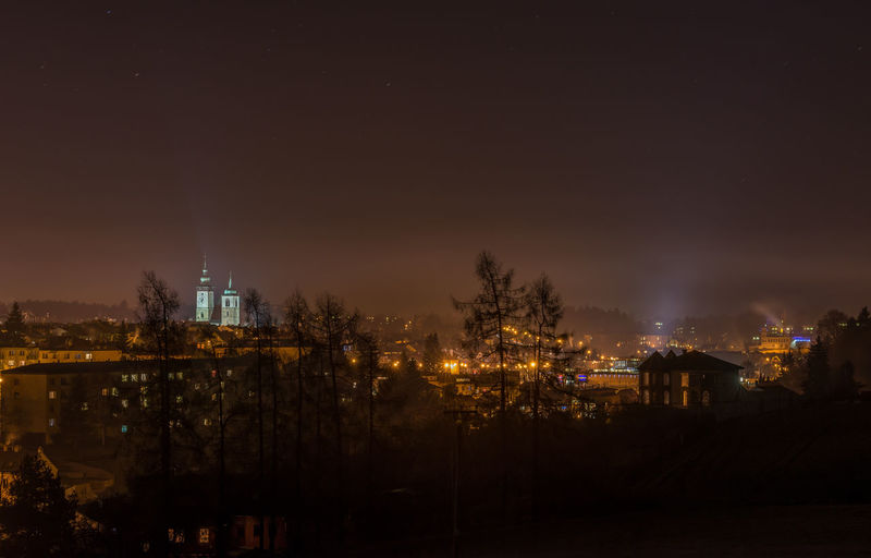 Jihlava, Czech Republic. night photo of illuminated town in the distance. Nightphotography Nikon D600 Architecture Belief Building Building Exterior Built Structure City City In Distance Cityscape Copy Space Environment Illuminated Nature Night No People Outdoors Place Of Worship Plant Religion Sky Smoke From The Chimney Tower Tree