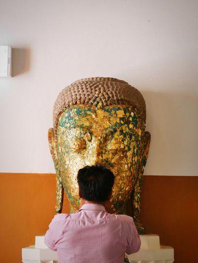 by word Thailand Bangkok Ayutthaya Travel Blessed  Pray Temple Headshot Human Face Men Statue Male Likeness Buddha Wat Pho Golden Color Idol Sculpted Human Representation