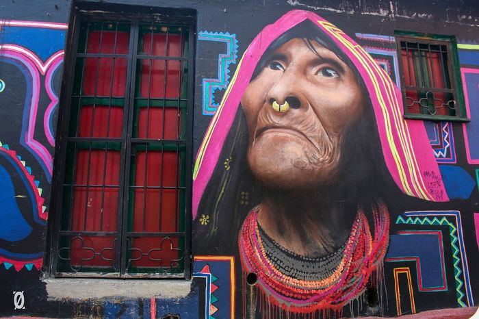 Bogotá Colombia Modern Mother Nature Art Day Ethnic Front View Graffiti Art Grafitti Indigenous  Indigenous People La Candelaria Multi Colored One Person Outdoors Pachamama  Street Art Urban
