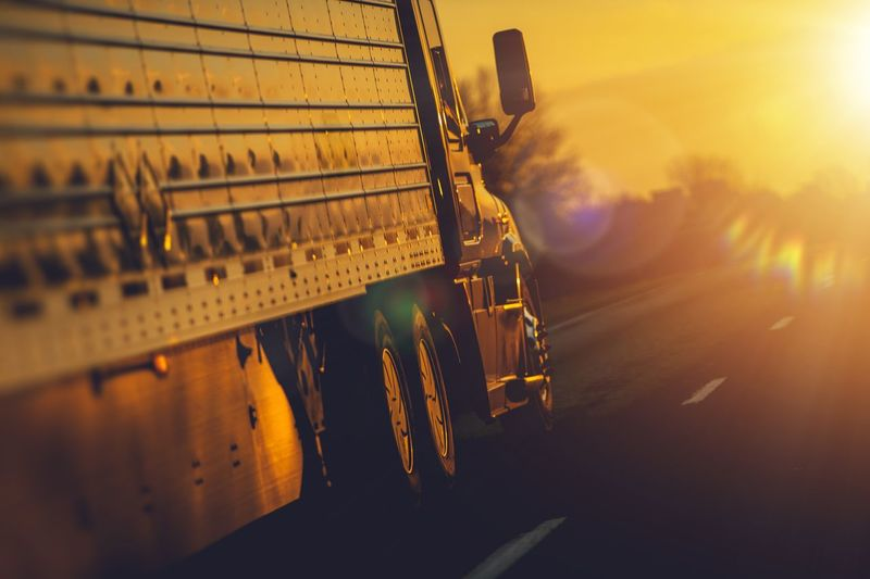 Close-up of truck on road during sunset