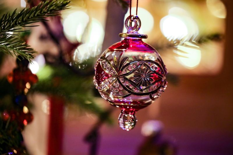 I do love a little sparkle... Decoration Hanging Christmas Focus On Foreground Celebration Holiday Indoors  Illuminated Christmas Decoration Close-up No People Christmas Ornament christmas tree Lighting Equipment Shiny Home Interior Holiday - Event Sphere Tree Purple