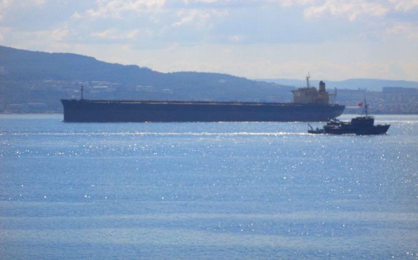 Turkey/ÇANAKKALE Big Boat&small Boat Away From Mountain ÇANAKKALE Bosporus Bright Sea
