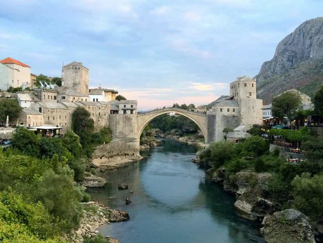 Stari Most bridge in Bosnia & Herzegovina #bridge #iPhone #mostar #river #travel Culture Cultures Day Happy #bosnian Historic No People Sunset #sun #clouds #skylovers #sky #nature #beautifulinnature #naturalbeauty #photography #landscape Taken On Mobile Device First Eyeem Photo