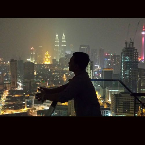 Cityscape City Only Men Looking Through Window One Person Night People Rear View Silhouette Men Adults Only One Man Only Adult Indoors  Kuala Lumpur Malaysia  Kuala Lumpur City Center Kuala Lumpur Klcc Kltower Klatnight Nightphotography