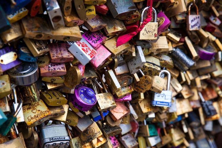 Full frame shot of padlocks