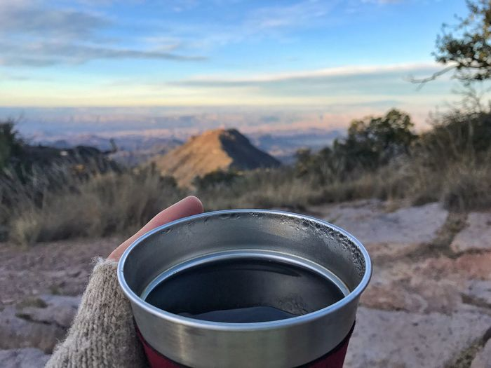 Vistas and camp coffee Mountain Sky Outdoors Nature Texas Big Bend National Park Camping Outside Coffee No People Vista